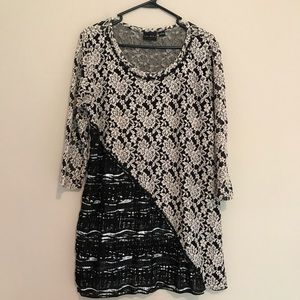 Tribal Textured Lace Stretchy Blouse Tunic Top